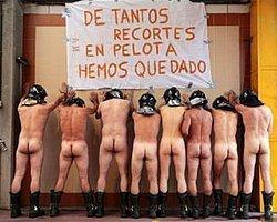 İspanya'da İtfayecilerden Çıplak Eylem