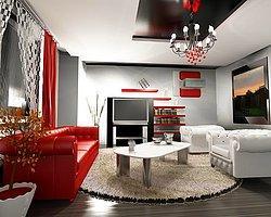 Siyah Beyaz Kırmızı Ev Dekorasyonu
