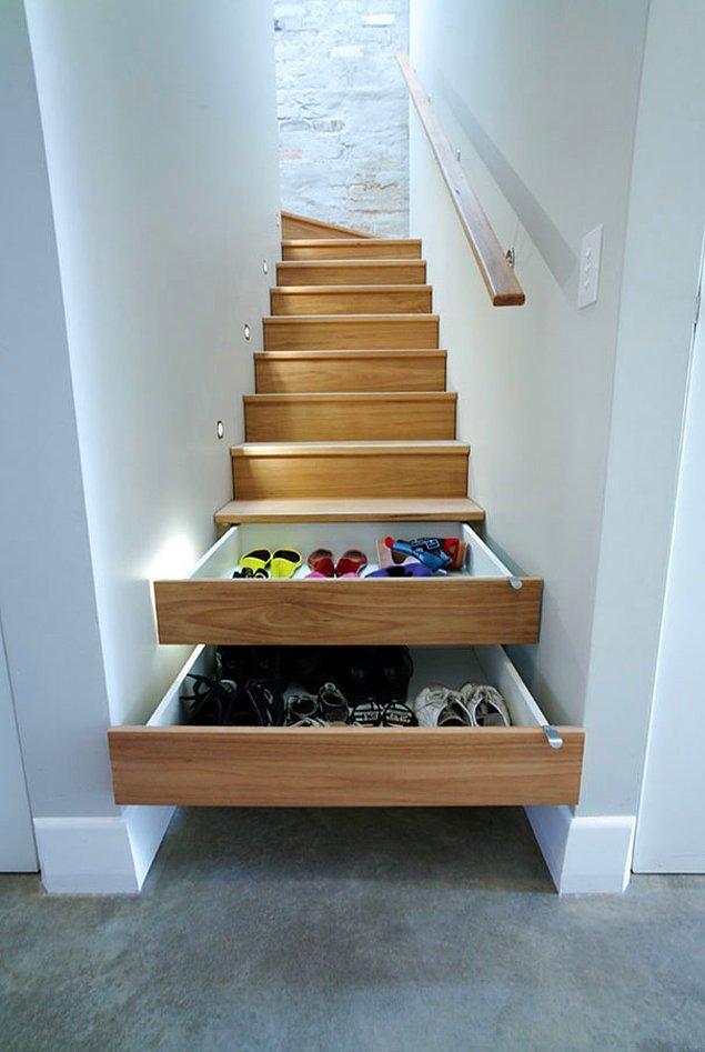 7.Merdivenlerden ayakkabı saklama yeri olarak kullanma