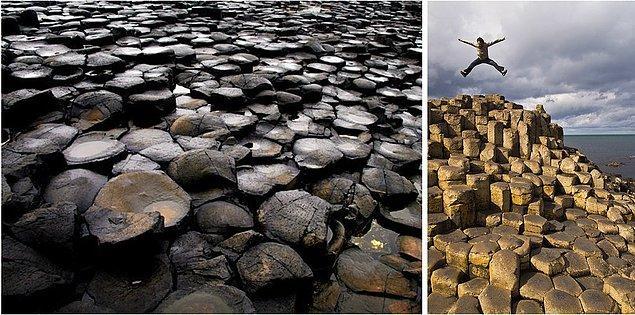14. Bazalt Sütunlar: Kuzey İrlanda'da eski bir volkanik patlama sonucu oluşmuş 40.000 bazalt sütün.