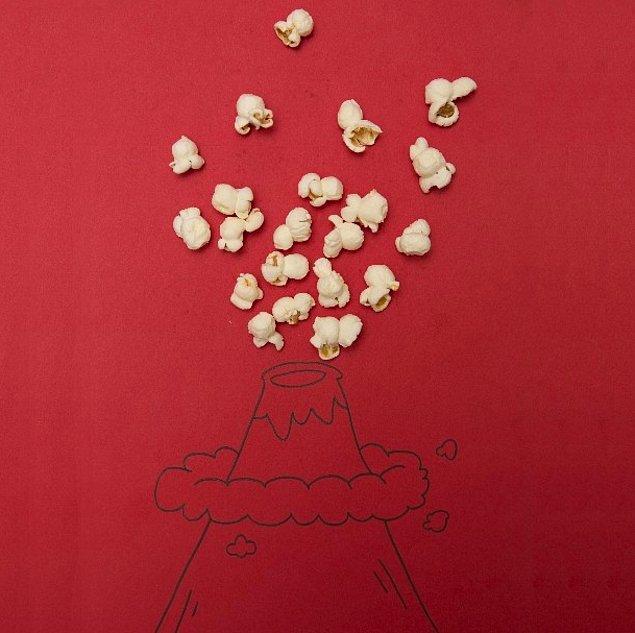 10. popcorn volcano..