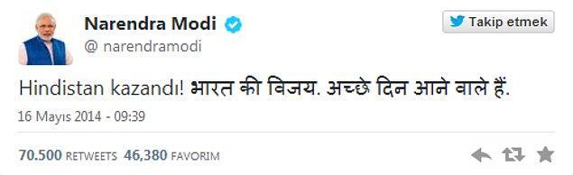 5. Twitter'da en önemli çıkış: Narendra Modi
