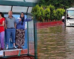 Zonguldak'ta Yağış Yolları Göle Çevirdi