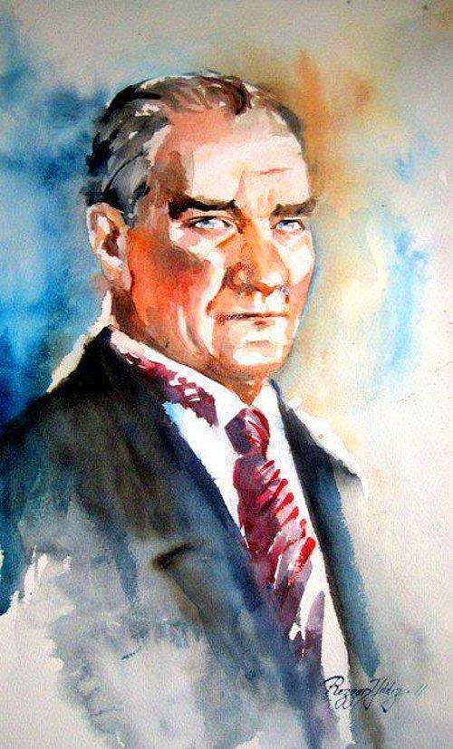 Sulu Boya Ile çizilmiş 15 Muhteşem Atatürk Portresi Onediocom