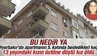 Diyarbakır'da bir keçi 5 katlı binanın çatısından atladı.