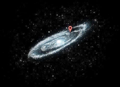 Галактика Млечный путь огромна. Мы находимся где-то у этой красной точки.