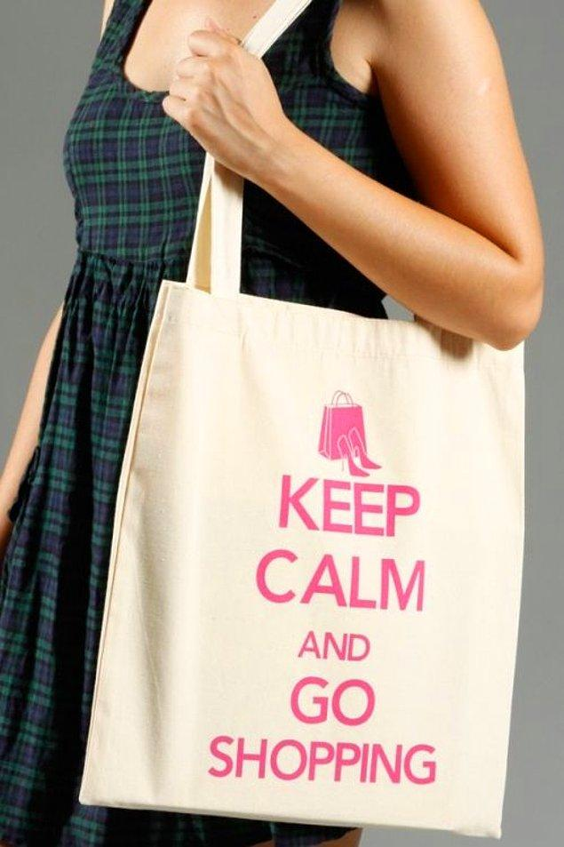 Keep Calm and Go Shopping Cotton Bez Çanta