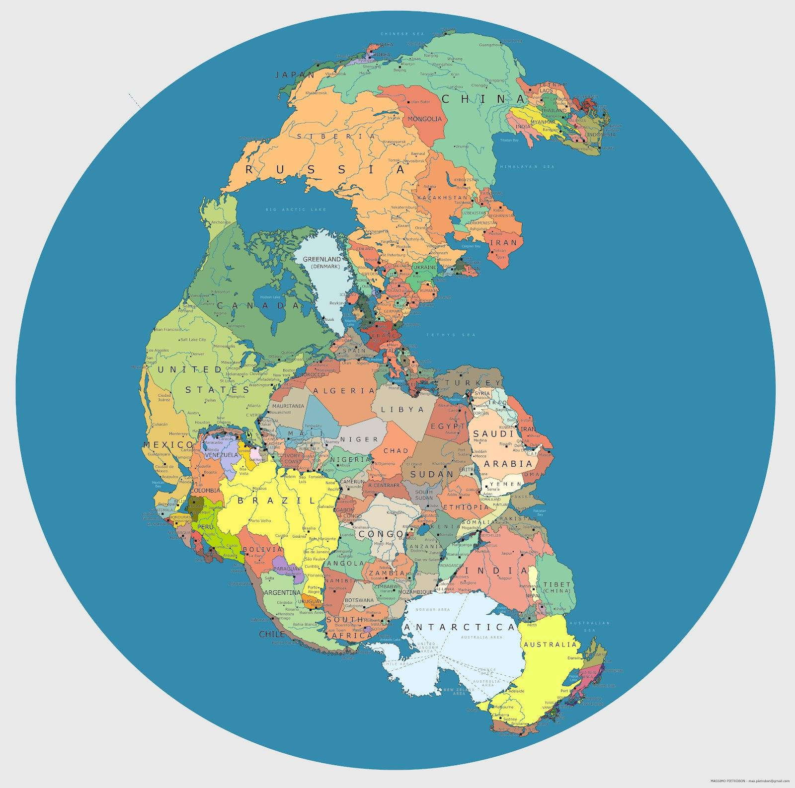 Map Showing Where Todays Countries Would Be Located On Pangea - World map with country names high resolution