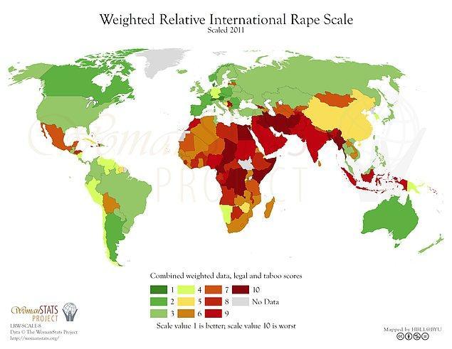 Ve işte Dünya Tecavüz Haritası