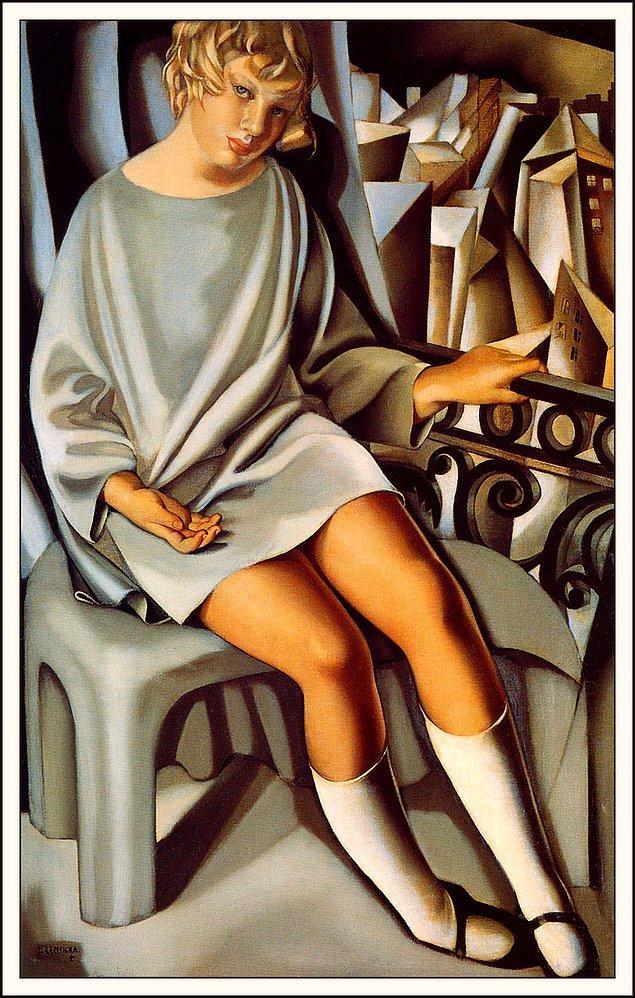 5. Balkonda Oturan Kız (Kizette - Sanatçının Kendi Kızı) - Tamara De Lempicka