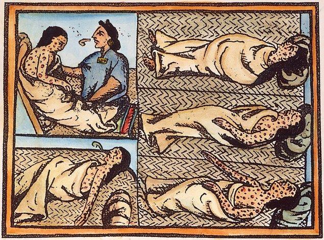 12. Azteklerin yok olmasına sebep olan şey Avrupalıların bulaştırdığı hastalıklardır.