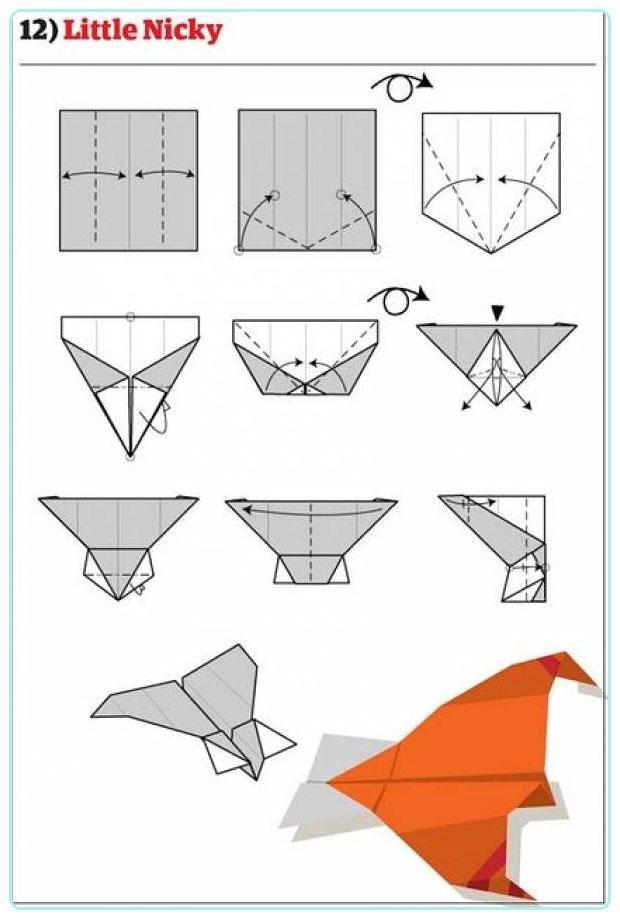 Kağıtları Hazırlayın Uçak Yapıyoruz 12 Farklı şema Ile Kağıttan