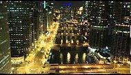 Chicago'da Time Lapse Gece Ve Şehir Işıkları