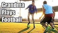 Büyükanne Kılığına Giren Profesyonel Futbolcu Kadından Halı Sahada Erkeklere Futbol Dersi