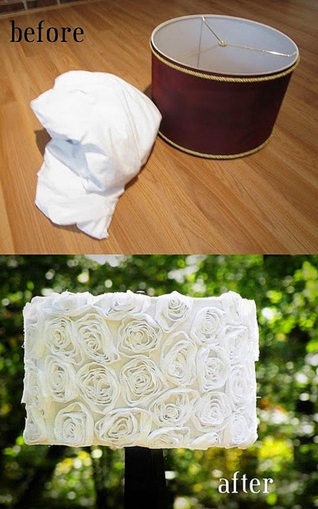 6. Ben abajur severim derseniz, tişörtlerinizi abajurlerinize değişik bir hava katmak için kullanabilirsiniz.