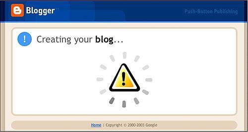 Blogger.com — Blogunuz oluşturuluyor ekranı