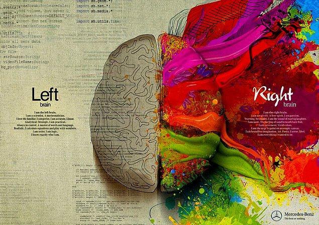 1. Kolay bir soruyla başlayalım: Beyninin sağ tarafını kullanan birisi hangi alanda daha iyidir?