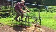 Üşengeçlik mi Dahilik mi? Testeresini Bisiklete Monte Eden Adamdan Pratik Odun Kesimi