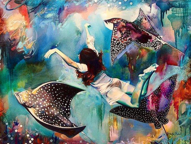 16-ти летняя художница и ее мечты в фантастических картинах