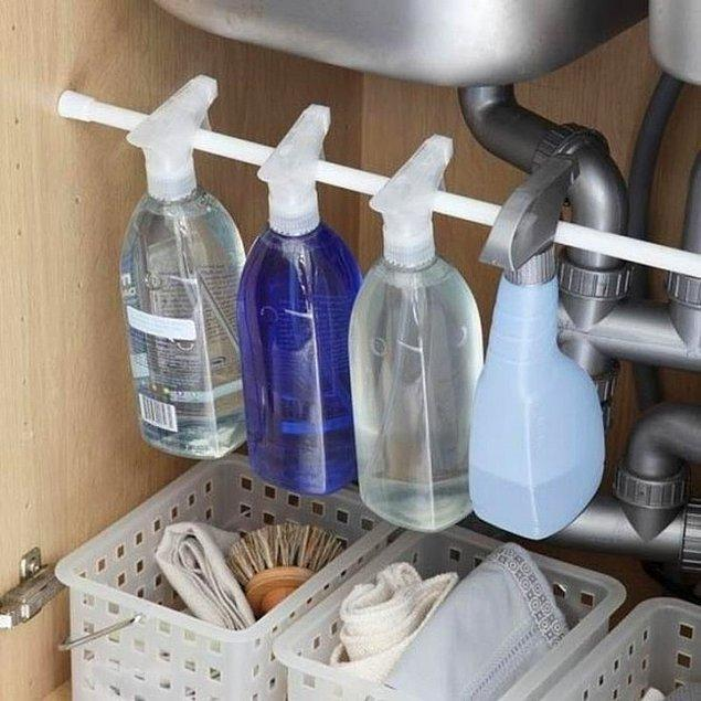7. Tek bir çubukla birçok temizlik ürününüz yok denecek kadar az yer kaplayacak.