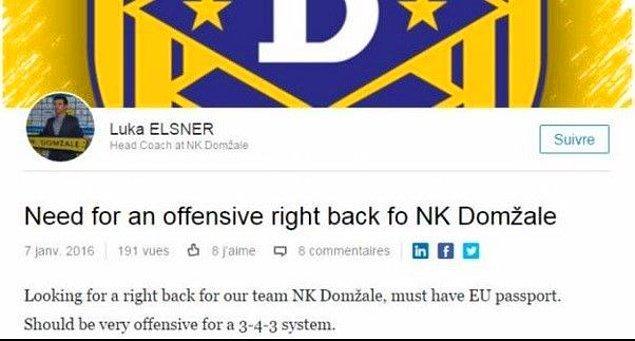 ''NK Domzale'nin ofansif sağ beke ihtiyacı var''