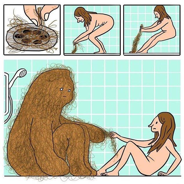 Чистить слив от волос 😈