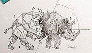 Geometrik Şekillerin İçinden Evrilen Muhteşem Hayvan Çizimleri