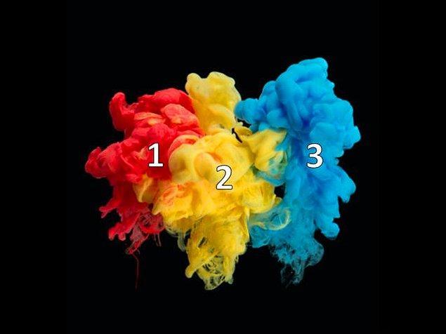 2. Şimdi de 1. ile 3. rengin karışımına bak bakalım.