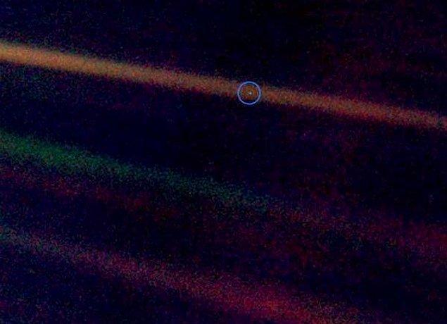 """16. """"Pale Blue Dot"""" nedir bilir misin? Milyarlarca kilometre uzaktan Voyager1 sondası tarafından çekilmiş Dünya fotoğrafına verilen addır, Dünya orada zar zor seçilen mavi bir noktacık gibi görünür, hah işte zorda kaldığında bu soluk mavi noktayı düşün dertlerinin ne kadar büyük olabileceğine sen karar ver."""