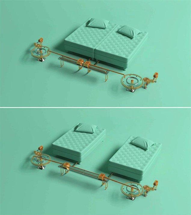 4. İlla aynı yatağı paylaşmanız gerekirse o yatak şöyle olsa iyi olur: