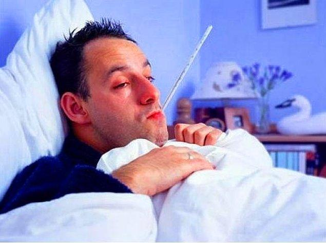 Он подхватил грипп