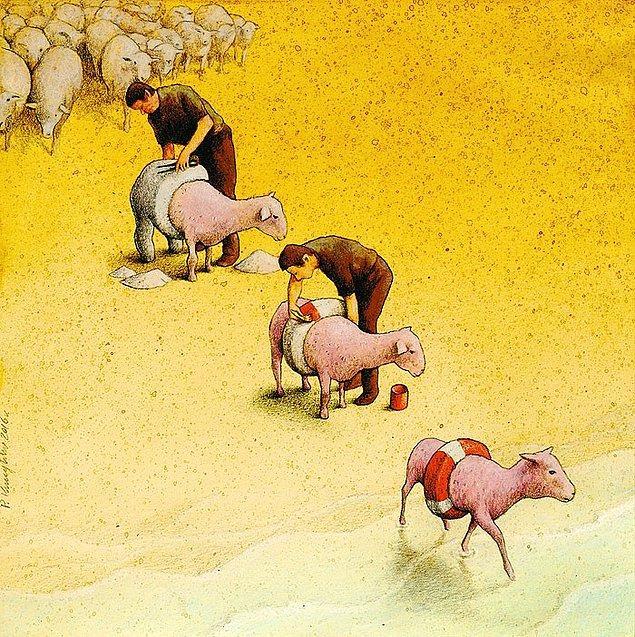 """14. İnsanlığın kanayan yarasına vurgu yapan """"Güvende Olduklarını Sandırmak"""" adlı çalışması."""