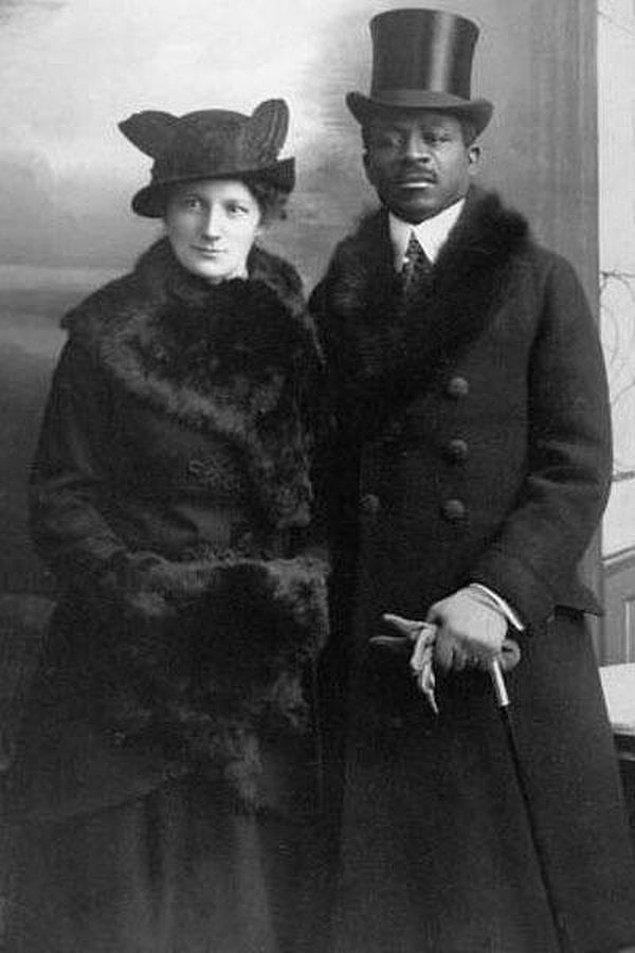 18. Geçmişte nadir görülen, ırklar arası evlilik yapmış bir çift, Berlin, 1914.