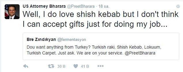 """Savcı Bharara da kendisine """"Şiş kebabı seviyorum ama işimi yaptığım için hediye kabul edemem"""" şeklinde sevimli ve net bir cevap vermişti."""