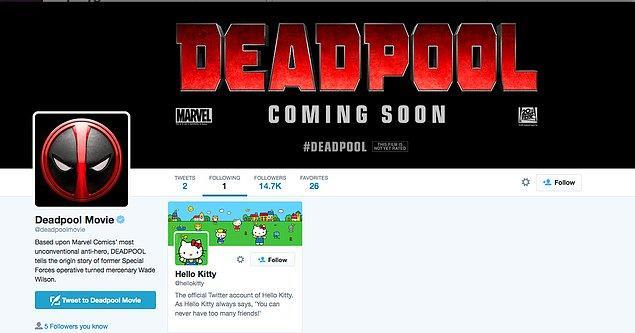 10. Ağır çekimdeki araba sahnesinde Hello Kitty ürünlerini görmüştük. Deadpool daha vizyona girmeden takip ettiği tek hesapla mesajı vermişti.