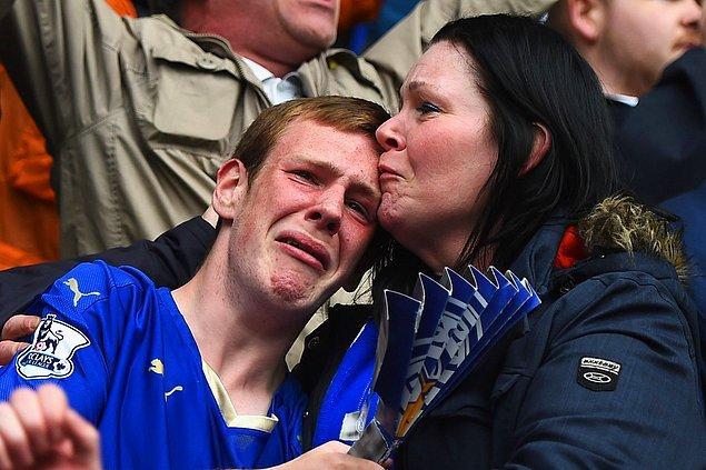 Leicester taraftarının, Southampton'a atılan gol sonrası duygusal reaksiyonu