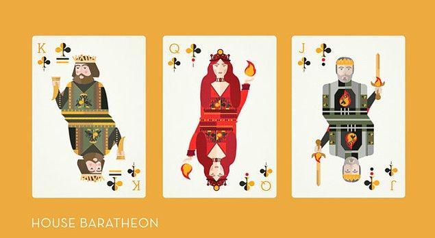 Baratheon'lar da sinek olarak tasarlanmış. Papaz Robert, kız Melisandre, vale Stannis.