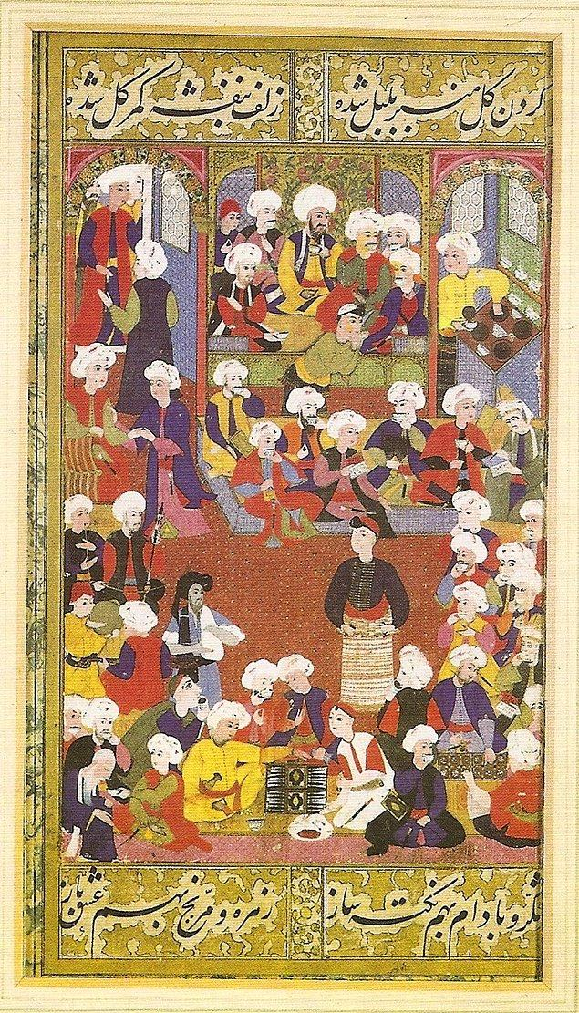 Sağ alt köşede görüldüğü üzere iki kişi mangala oynamaktadır.