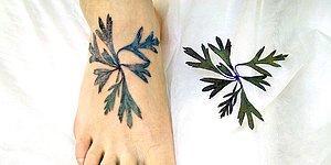 Yaratıcı Dövme Sanatçısı, Şablon Olarak Gerçek Yaprak ve Çiçek Kullanıyor!