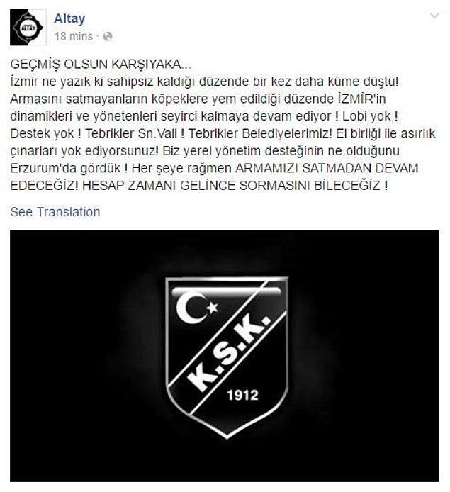 Bir başka İzmir kulübü olan Altay, Karşıyaka'nın küme düşmesinin ardından sosyal medya hesabından bu yazıyı paylaştı.