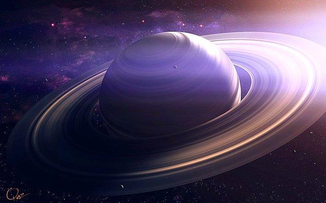 13. Satürn gezegeni neredeyse tamamen gazdan oluşmaktadır ve bunun büyük çoğunluğu sıvı hidrojen ve helyumdur. Katı olan tek kısmı oldukça küçük çekirdeğidir.