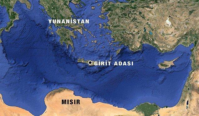 'Girit adası açıklarında düştü'