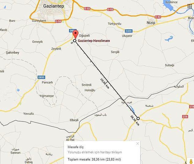 Sınır ile havaalanı arası yaklaşık 38 kilometre