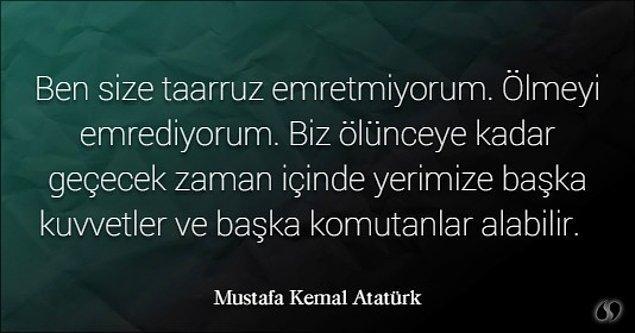7. Atatürk bu sözü nerede söylemiştir?
