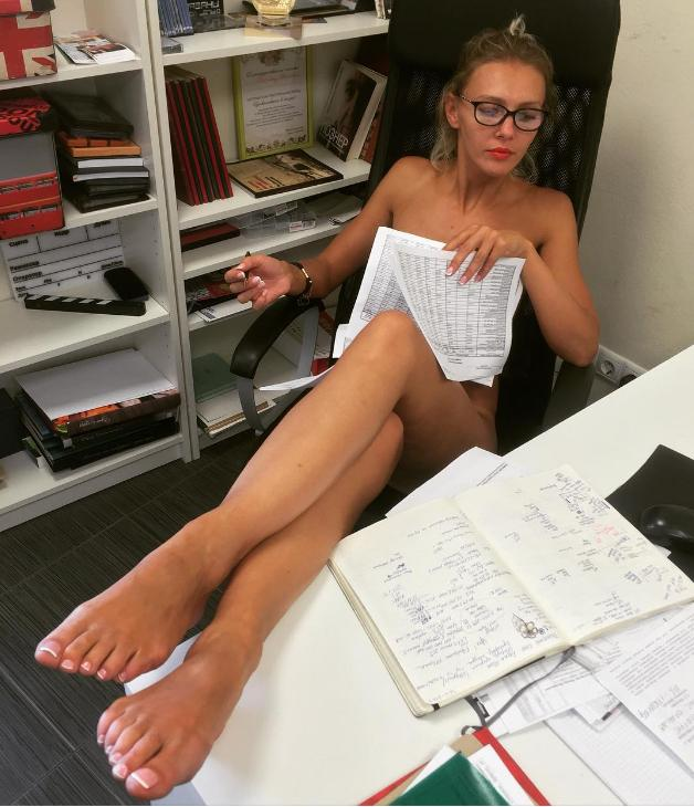 Blonde office worker Kimber Lee strips naked for nude photos at work  1243932