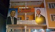 Yozgat'ta Davutoğlu'nun Fotoğrafının Üzerine Yıldırım'ın Fotoğrafı Yapıştırılmış