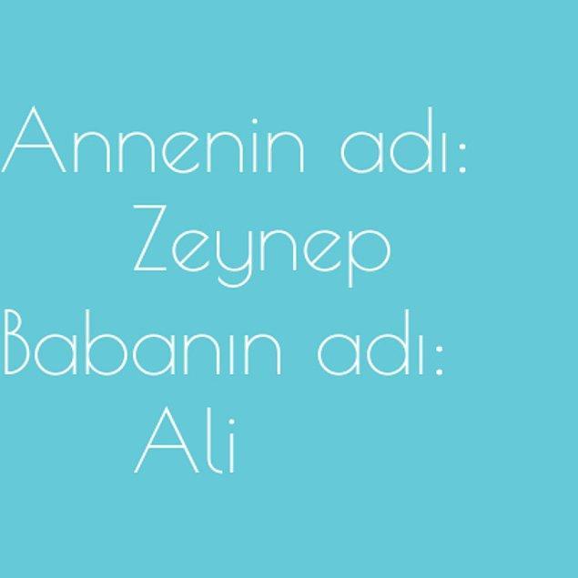 Zeynep ve Ali!