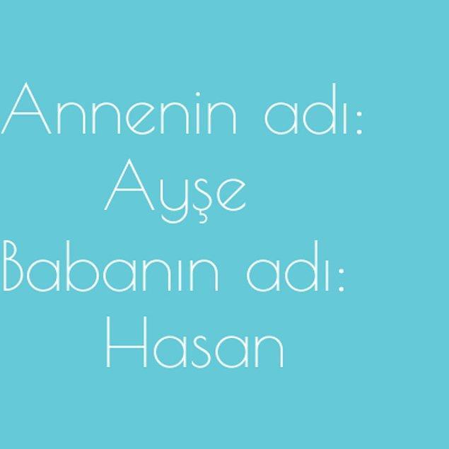 Ayşe ve Hasan!