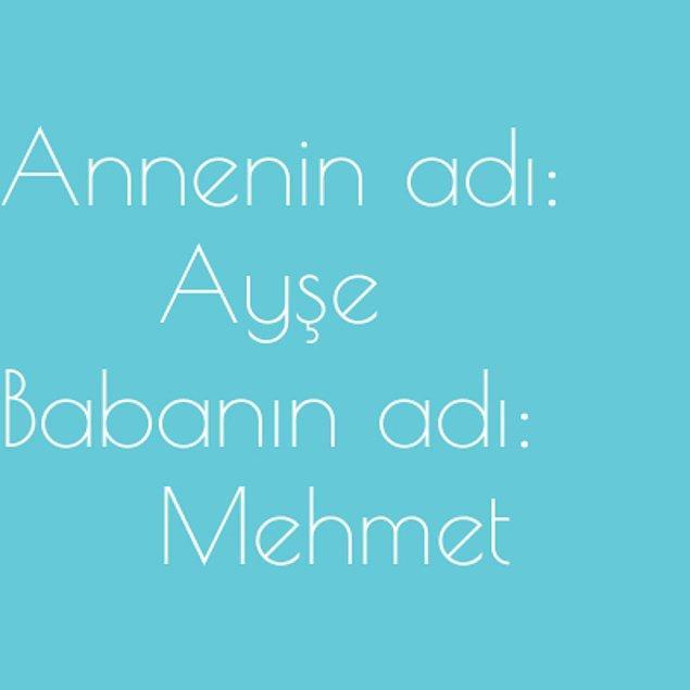 Ayşe ve Mehmet!