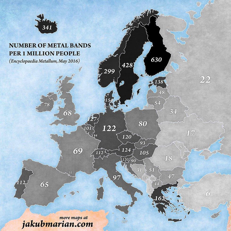 1 Milyon İnsan Başına Düşen Metal Müzik Grubu